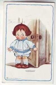 P415 JL old postcard comic courage girl trying to pull a tooth signed