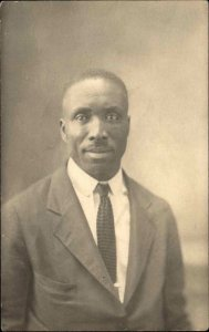 Black Americana - Man in Studio Jacket & Tie c1920 Real Photo Postcard
