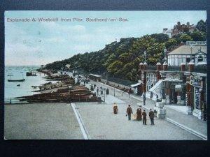 Essex SOUTHEND ON SEA Esplanade & Westcliff from Pier c1907 Postcard
