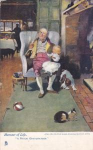 TUCK; Humour of Life, A Proud Grandfather, Little Girl, Dog and Cat at foot...