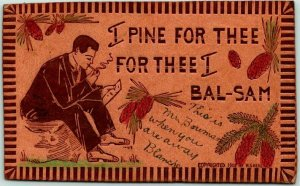 Vintage 1907 LEATHER Romance Greetings Postcard I Pine for Thee… W.S. HEAL