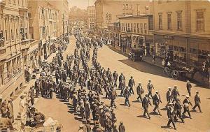 Menlo CA Storefronts Old Car Horse & Wagon Parade Real Photo Postcard