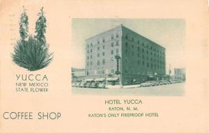 Raton New Mexico Hotel Yucca Flower Street View Antique Postcard K15316