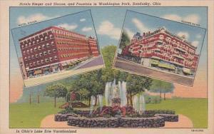 Ohio Sandusky Hotels Rieger and Sloane anf Fountain In Washington Park Curteich