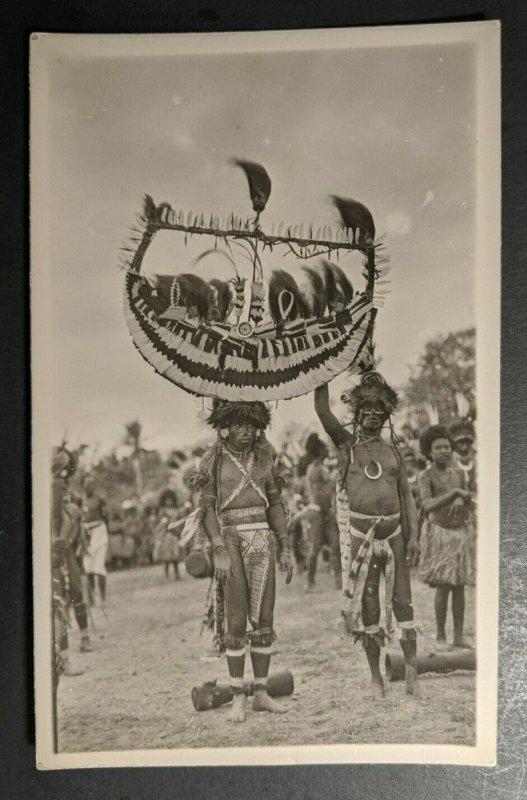 Mint Vintage Natives with Head Dress Papua New Guinea Real Photo Postcard RPPC