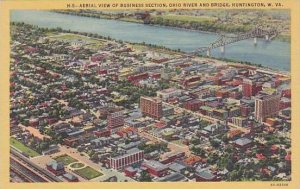 West Virginia Huntingon Aerial View Of Business Section Ohio River And Bridge...