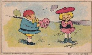 AS; Chubby boy giving shy girl an I LOVE YOU heart, SWINNERTON, 1906