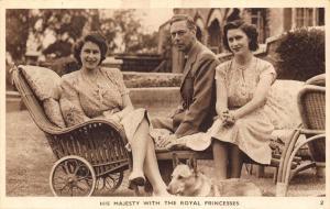 His Majesty with Royal Princesses and dog pet royalty England postcard