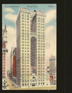 USA Postmark 1946 Dallas Texas Magnolia Building Dallas Texas Linen Postcard