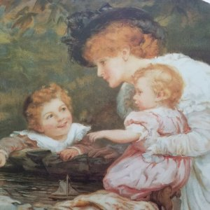 Cute Curly Redhead Baby Playing Vintage Large Victorian Style 1920's Litho