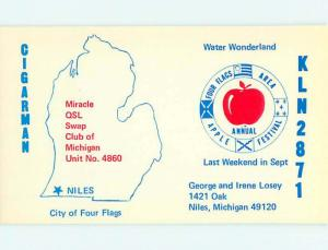 comic - QSL HAM RADIO CARD Niles Michigan MI t1109