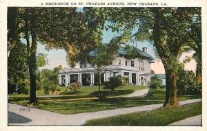 New Orleans Louisiana~St Charles Avenue Mansion~In January~1920s Post Card
