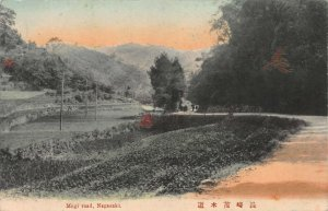 Mogi Road, Nagasaki, Japan, Early Hand Colored Postcard, Unused