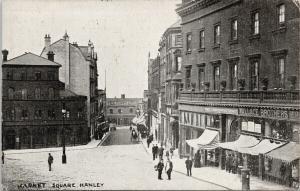 Market Square Hanley Staffordshire UK Teetons Ltd Wallace Bros 1905 Postcard E53