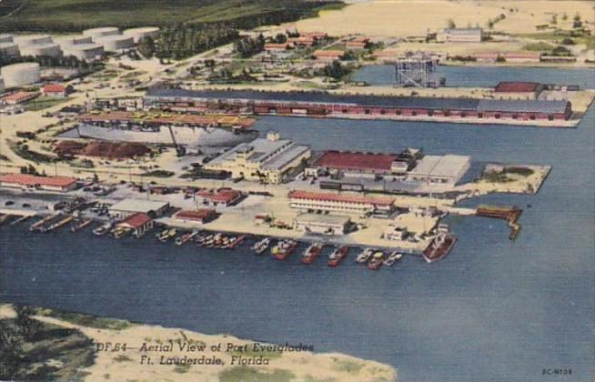 Florida Fort Lauderdale Aerial View Of Port Everglades 1961 Curteich