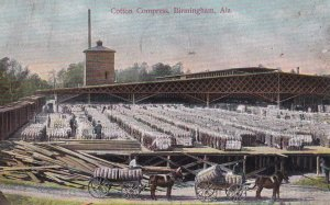 BIRMINGHAM, Alabama, PU-1910; Cotton Compress, Horse drawn Wagons