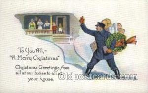 A Merry Christmas, Mail Man, Mailman, Postal Man, Worker Postcard Postcards