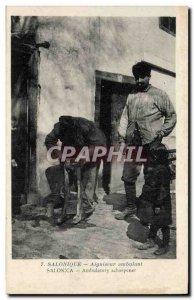 Old Postcard Greece Thessaloniki walking sharpener TOP