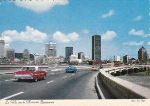 La Ville , vue de l'Autoroute Bonadventure , MONTREAL, Canada , 60-80s