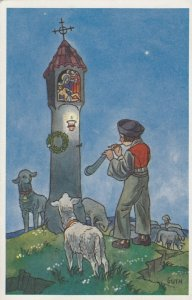 AS; ZDENEK GUTH, 1910-20s; Boy playing music to sheep in front of a Lighthouse
