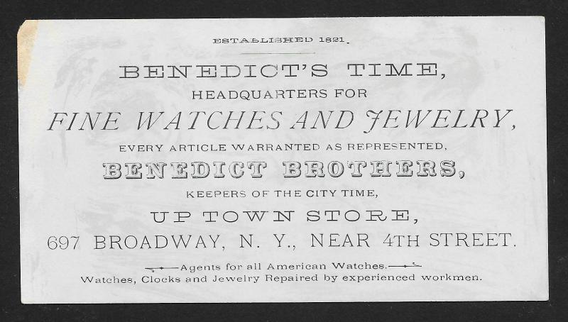 VICTORIAN TRADE CARD Benedict Bros Fine Watches & Jewelry