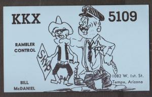 CB QSL Card - Policeman - Bill McDaniel Tempe, Arizona