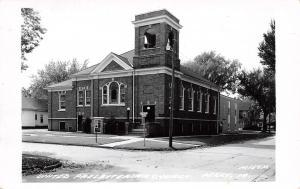 Perry IA Quaint United Presbyterian Church~Stained Glass Windows RPPC c1950