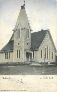 Wellman Iowa~Methodist Episcopal Church~1908 B&W Postcard