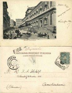 italy, NAPOLI NAPLES, Muso Nazionale, Horse Tram (1900) Postcard