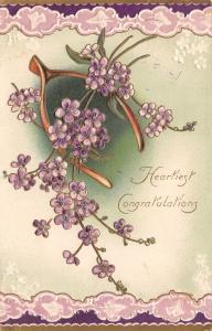 Lavender Flowers on Wishbone~Purple White Lace Borders~Gold Leaf Emboss~Germany