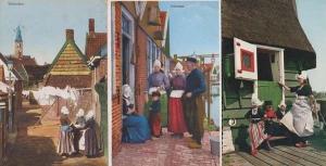 Volendam Laundry Washing Line On Windy Day + Lost Boy Cat Children 3x Postcard