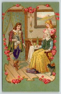 Musketeer~Soldier Greets Father~Girl~Pink Rose Art Nouveau~Olive Back~Emboss~393