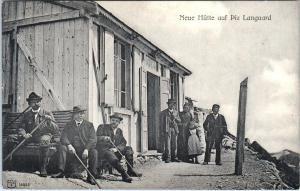 PIZ LANGUARD, Switzerland  Neue Hutte -NEW HUT on Mountain    c1910s Postcard