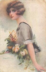 Glamour lovely lady with roses italian artist signed Carlo Monestier art nouveau