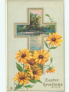 Pre-Linen Easter JESUS CROSS WITH DAISY FLOWERS AB4157