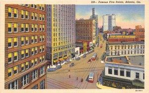 Atlanta Georgia 1940s Postcard Famous Five Points Skyscrapers Streetcars