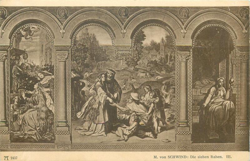 Lot 6 full set postcards  The seven Ravens  fairy tale by M. von Schwind