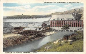 Great Falls Montana~Power Plant & Dam on Chicago Milwaukee & St Paul Railway~20s