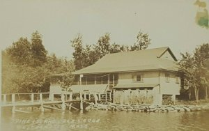 Westhampton MA, Pine Island Lake Lodge, RPPC Real Photo c1920-40s Postcard A36