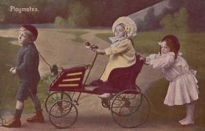 Children With Tandem Pedal Transportation Car On String Old Postcard