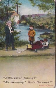 Humour Bamforth Series No 1522 Hello Boys Fishing No Motoring 1914