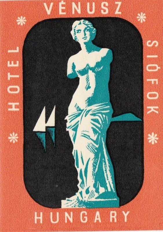Hungary Siofok Hotel Venus Vintage Luggage Label sk3655