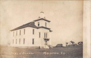 Ralston Iowa~Little Boy @ Public School~Houses in Background~Barns~c1912 RPPC