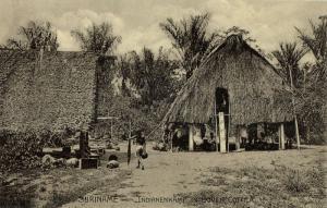suriname, Indian Village in Upper Cottica (1910s) Postcard