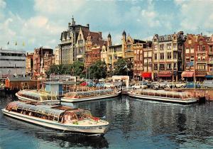 Netherlands Amsterdam Damrak Harbour Boats Hafen Auto Vintage Cars