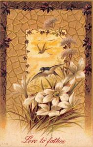 Love To Father~Barn Swallows Hover Over White Flowers~Brown & Tan Design~Emboss