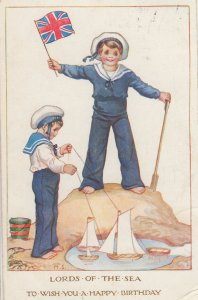Toy Model Puppet Type Boats on String WW1 Children Sailors Old Postcard