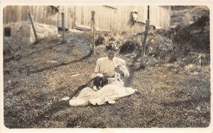 G92/ Interesting RPPC Postcard c1910 Woman with Pet Dogs and Cats 10