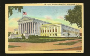 USA Postmark 1949 Washington DC Supreme Court Building Linen Postcard