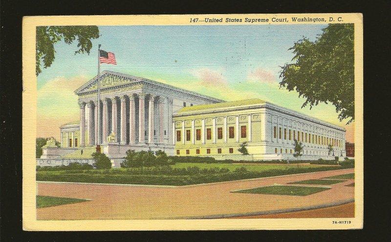 USA Postmark 1949 Washington DC Supreme Court Building Linen Postcard